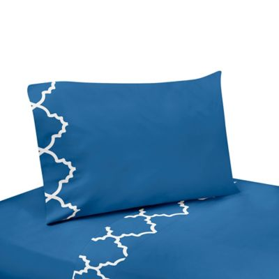 Sweet Jojo Designs Trellis 4-Piece Queen Sheet Set in Blue/White