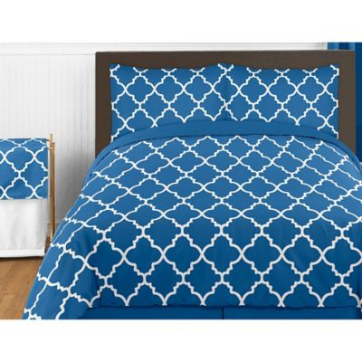 Sweet Jojo Designs Trellis 4-Piece Twin Comforter Set in Blue/White