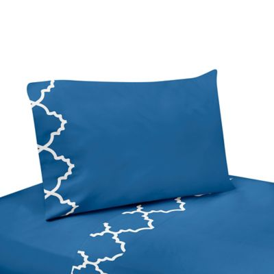 Sweet Jojo Designs Trellis 4-Piece King Sheet Set in Blue/White