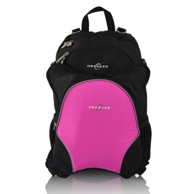 Obersee Rio Diaper Bag Backpack with Detachable Cooler in Black/Pink