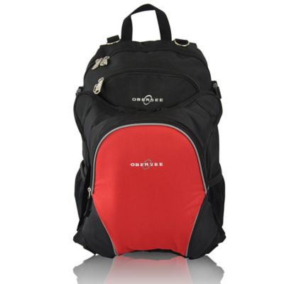 Obersee Rio Diaper Bag Backpack with Detachable Cooler in Black/Red