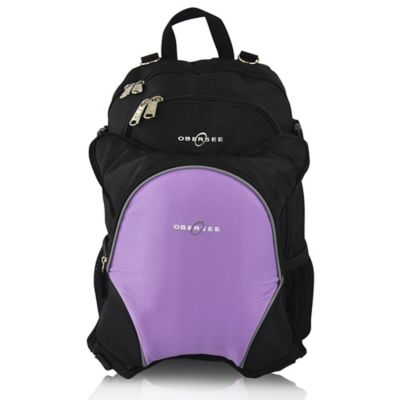Obersee Rio Diaper Bag Backpack with Detachable Cooler in Black/Purple