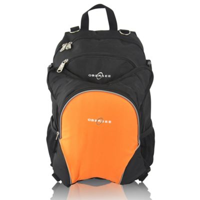 Obersee Rio Diaper Bag Backpack with Detachable Cooler in Black/Orange