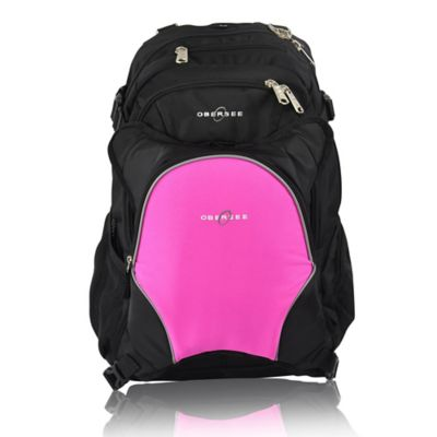 Obersee Bern Diaper Bag Backpack with Detachable Cooler in Bright Pink