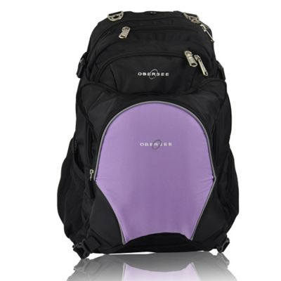 Obersee Bern Diaper Bag Backpack with Detachable Cooler in Purple