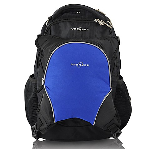 obersee oslo diaper bag backpack with detachable cooler in black royal blue. Black Bedroom Furniture Sets. Home Design Ideas