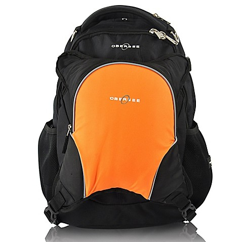 obersee oslo diaper bag backpack with detachable cooler in black orange. Black Bedroom Furniture Sets. Home Design Ideas