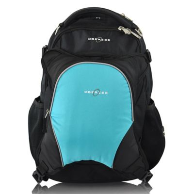 Obersee Oslo Diaper Bag Backpack with Detachable Cooler in Black/Turquoise