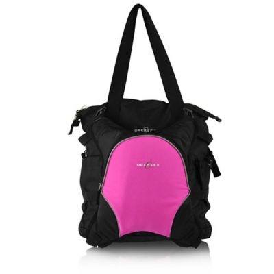 Obersee Innsbruck Diaper Bag Tote with Detachable Cooler in Black/Pink