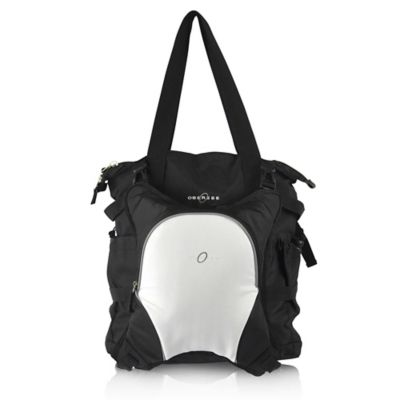 Obersee Innsbruck Diaper Bag Tote with Detachable Cooler in Black/White