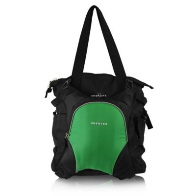 Obersee Innsbruck Diaper Bag Tote with Detachable Cooler in Black/Green