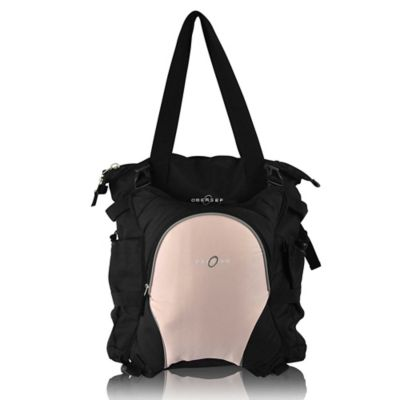 Obersee Innsbruck Diaper Bag Tote with Detachable Cooler in Black/Bubble Gum