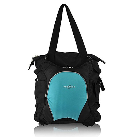obersee innsbruck diaper bag tote with detachable cooler in black turquoise. Black Bedroom Furniture Sets. Home Design Ideas