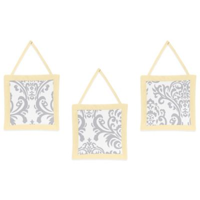 Sweet Jojo Designs Avery 3-Piece Wall Hanging Set in Yellow/Grey