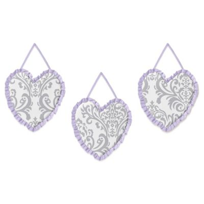 Sweet Jojo Designs Elizabeth 3-Piece Wall Hanging Set in Lavender and Grey