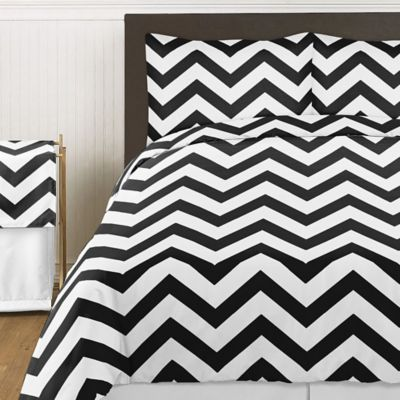 Sweet Jojo Designs Chevron 4-Piece Twin Comforter Set in Black and White
