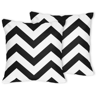 Sweet Jojo Designs Chevron Throw Pillow in Black and White (Set of 2)