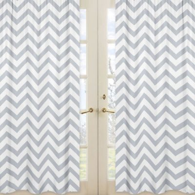 Sweet Jojo Designs Chevron Window Panel Pair in Grey and White