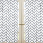 image of Sweet Jojo Designs Chevron Window Panel Pair in Grey and White