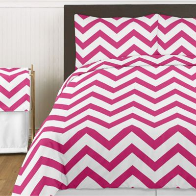 Sweet Jojo Designs Chevron 3-Piece King Comforter Set in Pink and White