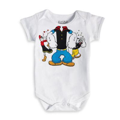 FREEZE Size 6M Classic Popeye Short Sleeve Bodysuit in White