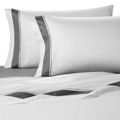 Frette At Home Arno Standard Pillowcase in White/Grey