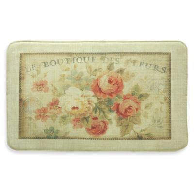 Bacova Parisian Flowers 20-Inch x 34-Inch Memory Foam Mat