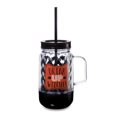 """Drink Up, Witches"" Mason Jar Tumbler"
