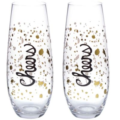 Cheers Stemless Champagne Toasting Flutes (Set of 2)