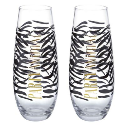 Party Animal Stemless Champagne Flutes (Set of 2)