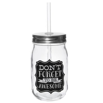 """Be Awesome"" Glass Mason Jar with Straw"