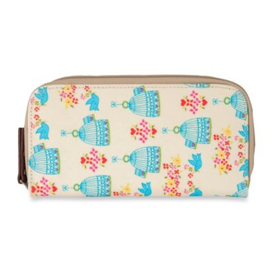 Pink Lining Birdcage Zip-Around Wallet in Cream/Teal