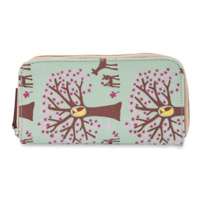 Pink Lining Woodland Zip-Around Wallet in Green