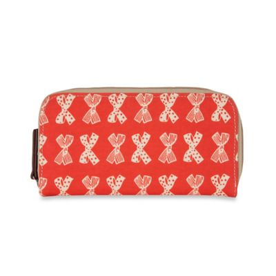 Pink Lining Cream Bows on Red Zip-Around Wallet