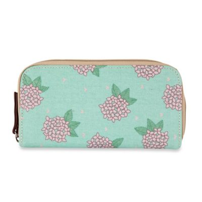 Pink Lining Hydrangea Zip-Around Wallet in Green