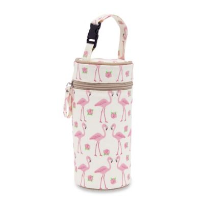 Pink Lining Flamingo Walk Bottle Holder in Pink/White