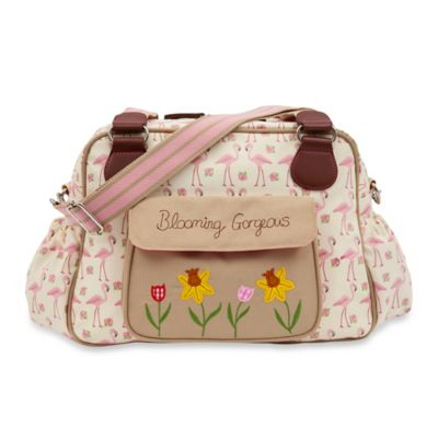 Pink Lining Blooming Gorgeous Flamingo Walk Diaper Bag in Cream/Pink