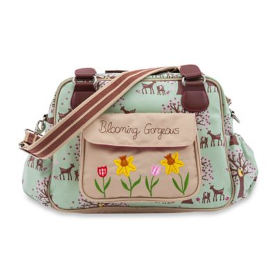 Pink Lining Blooming Gorgeous Woodland Diaper Bag in Green