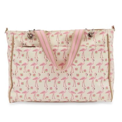Pink Lining Bramley Flamingo Walk Diaper Tote in Cream/Pink