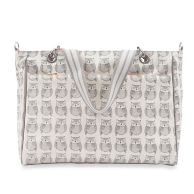 Pink Lining Bramley Wise Owl Diaper Tote in Beige/Cream