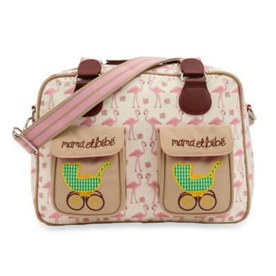 Pink Lining Mama Et Bebe Flamingo Walk Diaper Bag in Cream/Pink