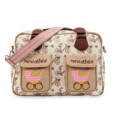 Pink Lining Mama Et Bebe In the Mews Pink Bikes Diaper Bag