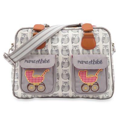 Pink Lining Mama Et Bebe Wise Owl Diaper Bag in Beige/Cream