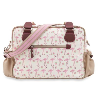 Pink Lining Not So Plain Jane Flamingo Walk Diaper Bag in Cream/Pink