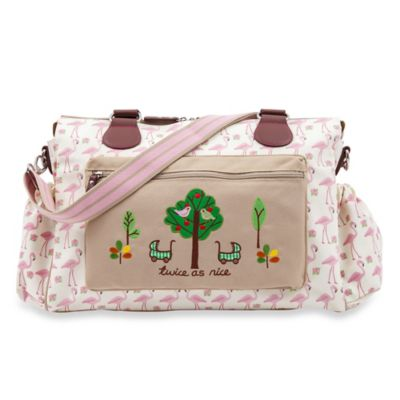 Pink Lining Twins Flamingo Walk Diaper Bag in Cream/Pink