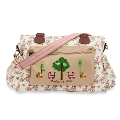 Pink Lining Twins In the Mews Pink Bikes Diaper Bag
