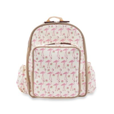 Pink Lining Wanderlust Rucksack Flamingo Walk Backpack Diaper Bag in Cream/Pink