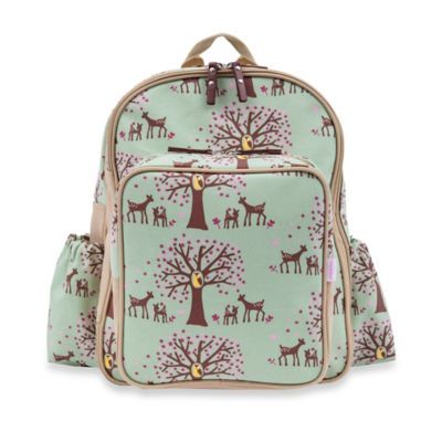 Pink Lining Wanderlust Rucksack Woodland Backpack Diaper Bag in Green