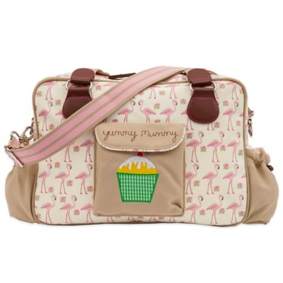 Pink Lining Yummy Mummy Flamingo Walk Diaper Bag in Cream/Pink