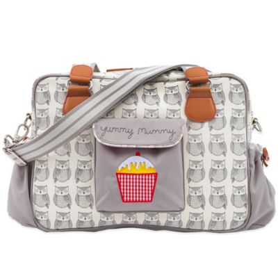 Pink Lining Yummy Mummy Wise Owl Diaper Bag in Beige/Crem